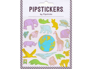 stickers sheet features pastel wild animals with gold outlines