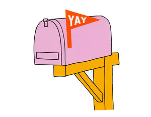 vinyl sticker featuring a pink mailbox and a yay flag