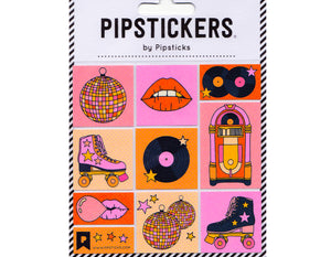 set of stickers with disco ball, red lips, records, jukebox, roller skates, and lips blowing bubbles.