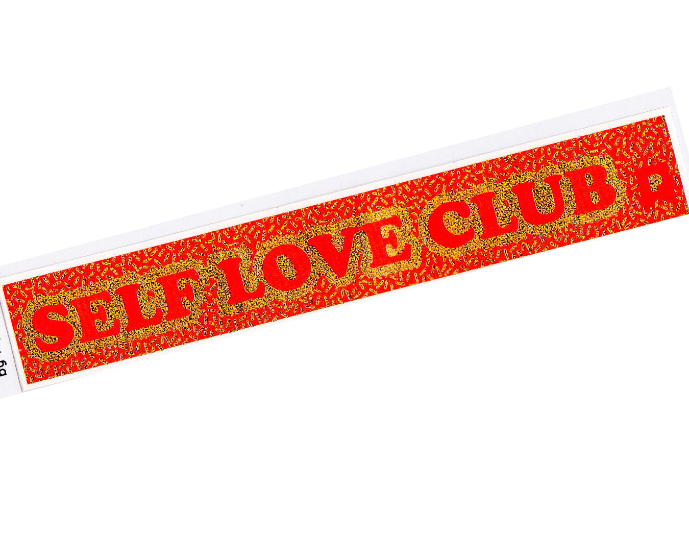 red and gold sticker reads self love club