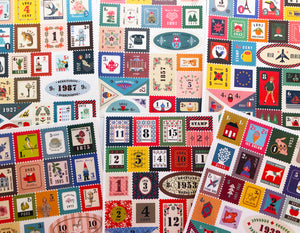 Fun graphic sticker sheets that look like postage stamps.