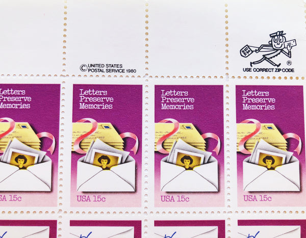 P.S. Write Soon Unused US Postage Sheet of 60 Stamps, Letters Lift Spirits, Shape Opinions and Preserve Memories, 1980