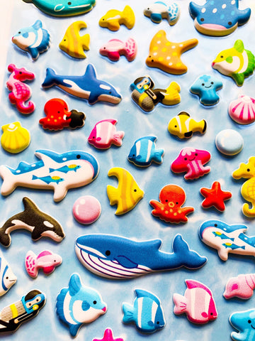 Puffy Sea Creatures Stickers
