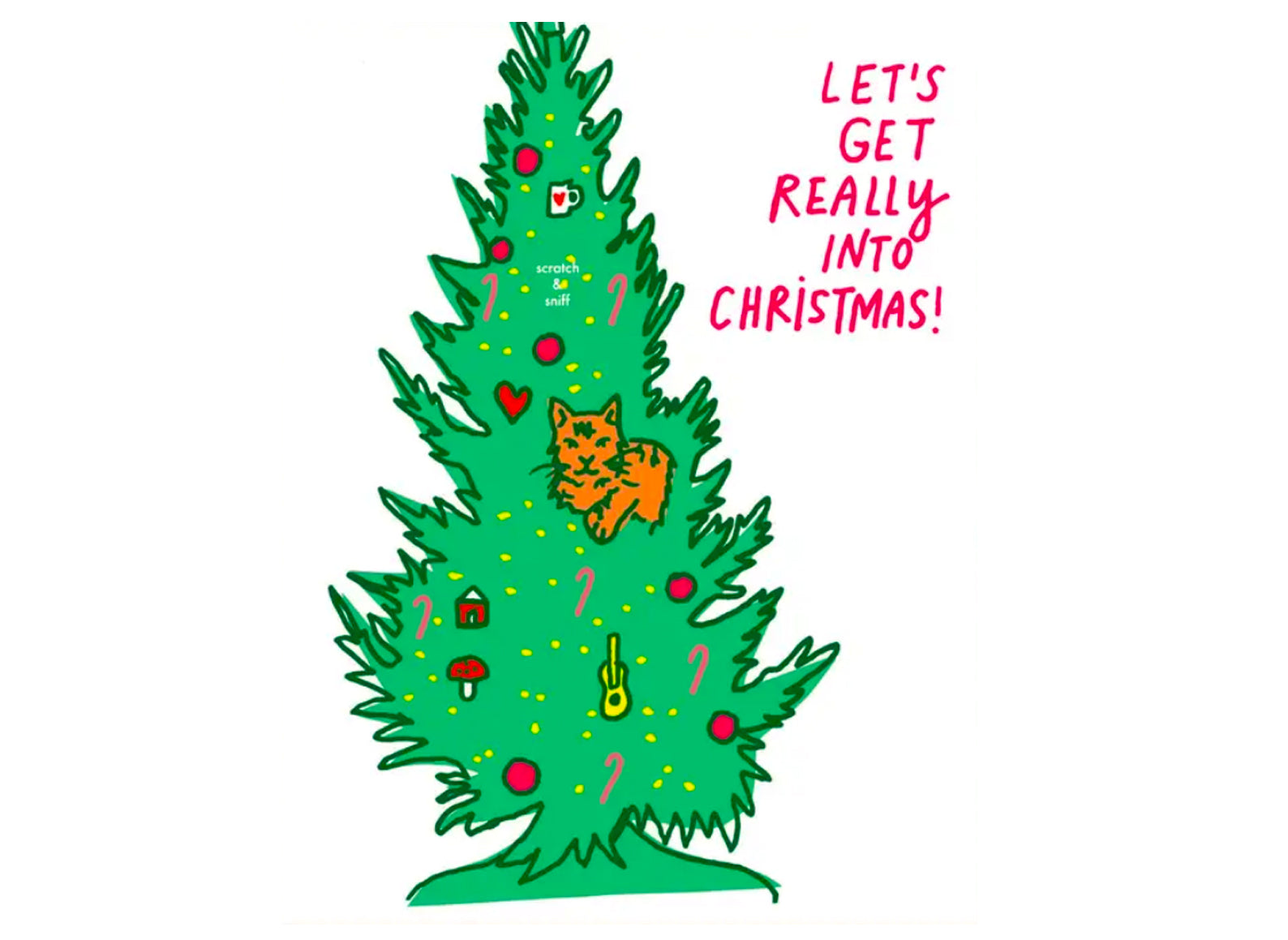 cat in the tree, text reads let's get really into christmas! scratch and sniff christmas tree scent.
