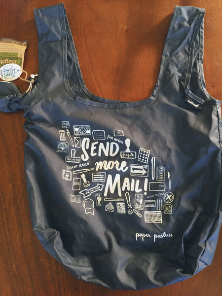 Send More Mail 100% Recycled Reusable Shopping Bag or Mini Rubber Stamp