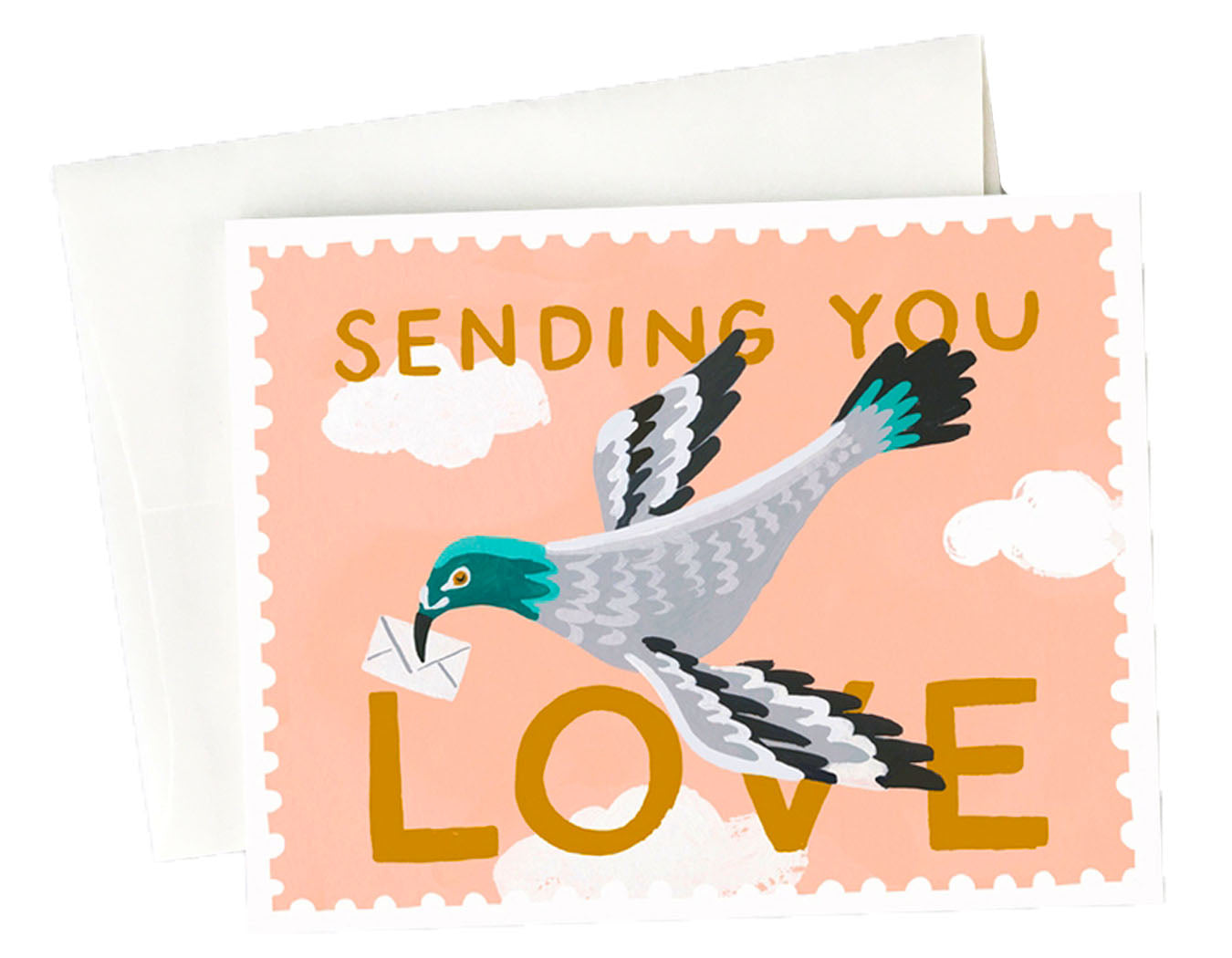postage stamp border, pink background with pigeon holding envelope in beak. text reads sending you love