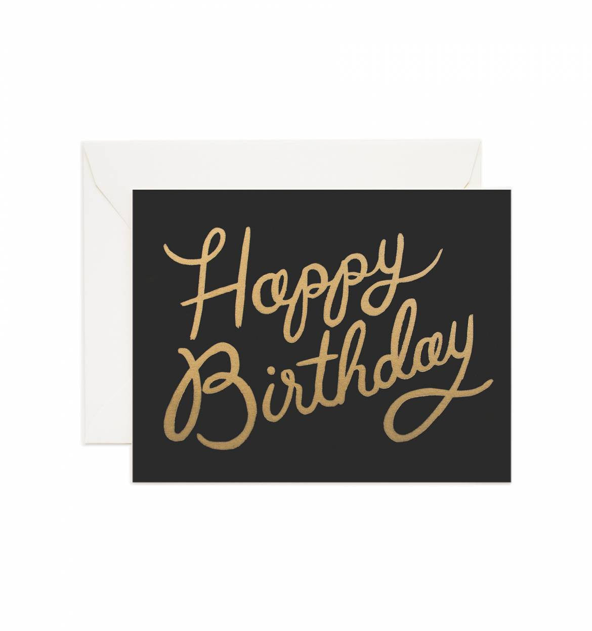 Classic Black And Gold Happy Birthday Greeting Card Paper Pastries