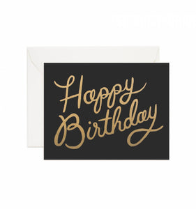 Classic Black and Gold Happy Birthday Greeting Card