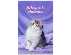 purple background scottish fold kitten text reads silence is violence in pink