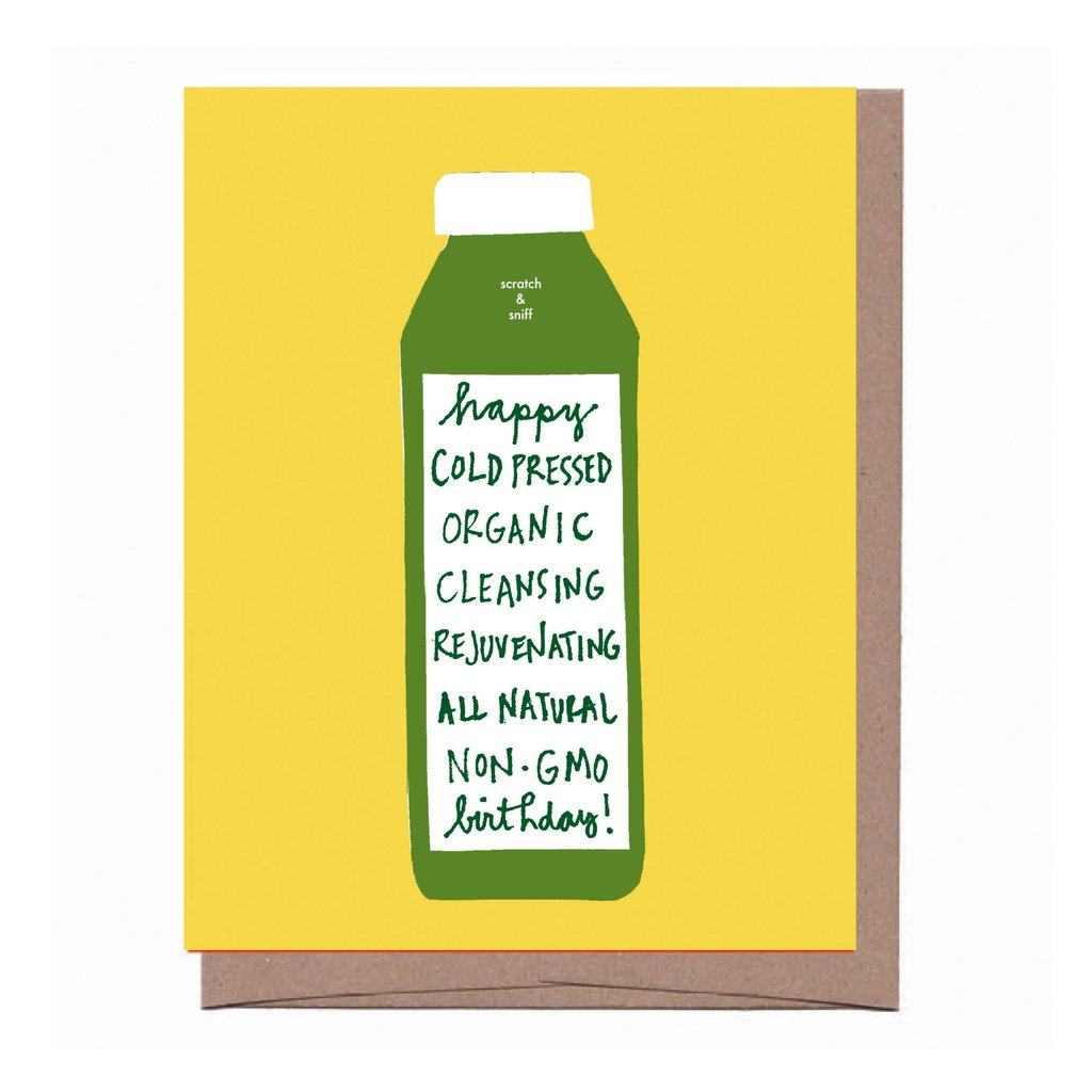Scratch & Sniff Cold Pressed Green Juice Birthday Card