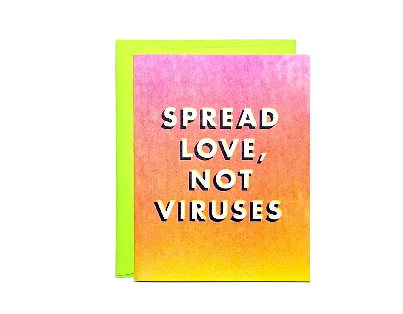 Spread Love, Not Viruses - Risograph Greeting Card