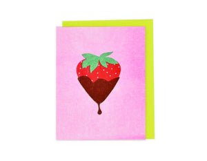 Candy Cards: Chocolate Covered Strawberry Risograph Card