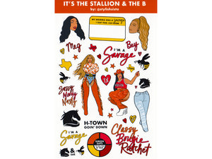 H-Town Rapper Sheet It's the Stallion & The Bey Glossy Sticker Sheet