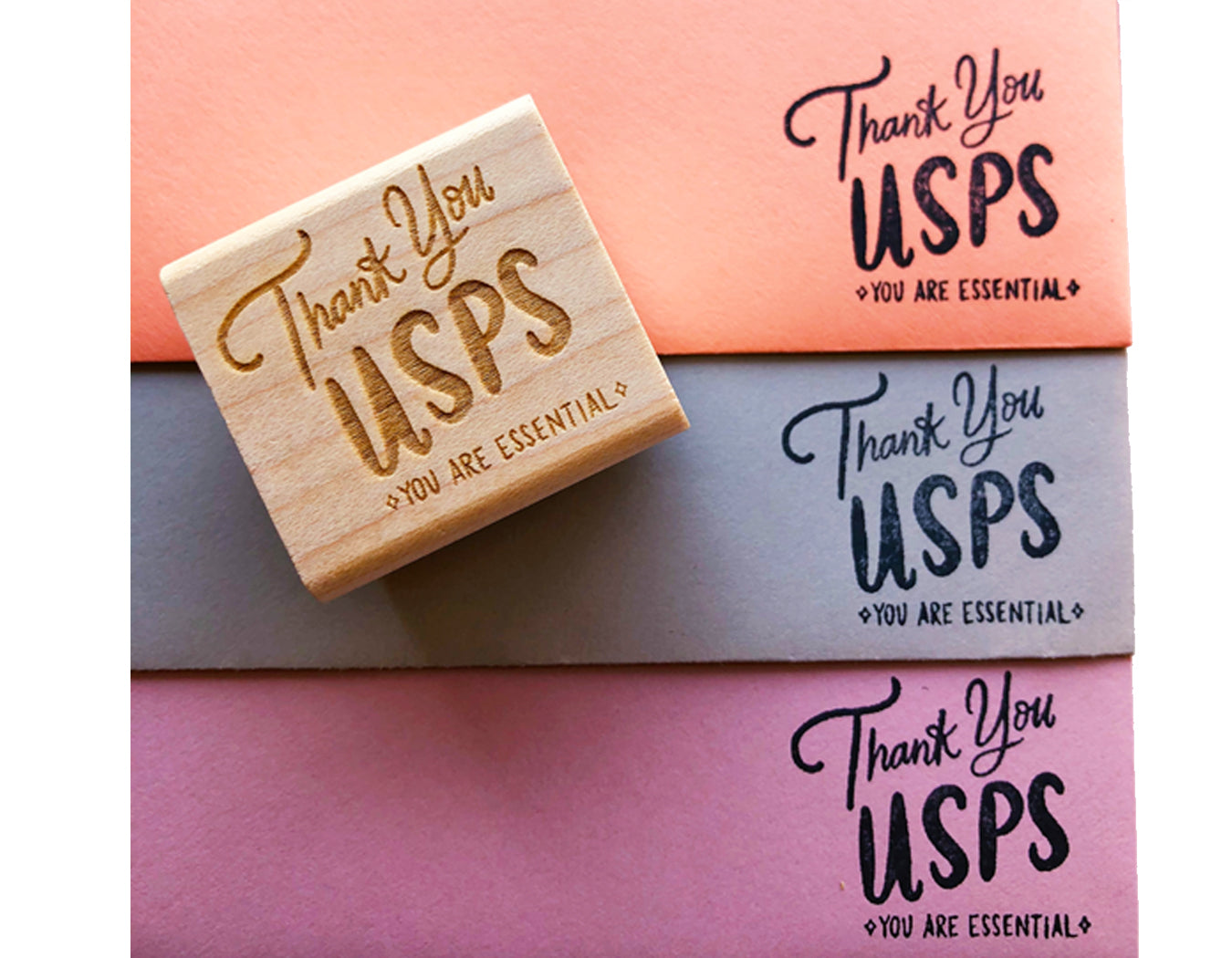 rubber stamped envelopes that read Thank You USPS