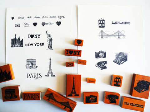 Cavallini Small Rubber Stamp Set