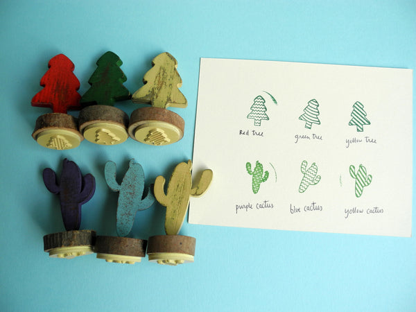 Cactus and Tree Rubber Stamps