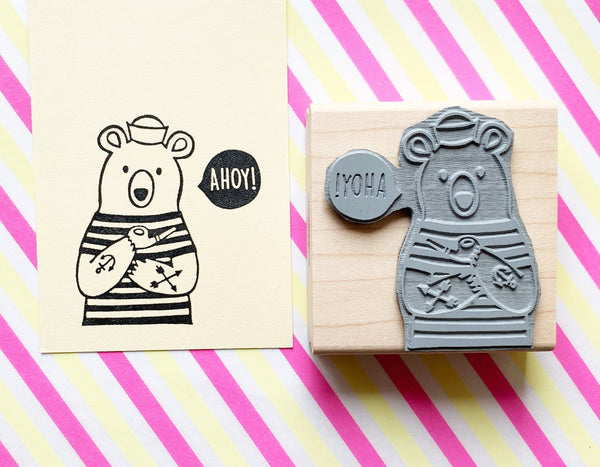 sailor bear stamp | ahoy stamp | polar bear stamp | nautical stamp | animal rubber stamp for snail mail, card making | TALK TO THE SUN