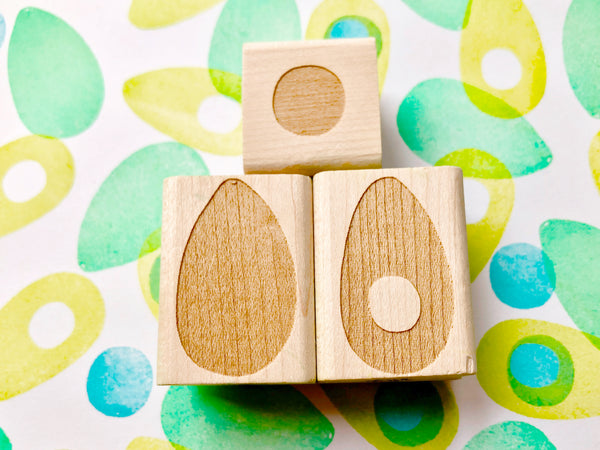 set of three avocado rubber stamps