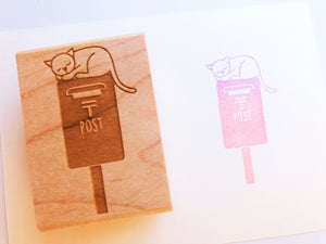 japanese post box stamp | mail box rubber stamp | cat hand carved stamp for diy, business packaging, snail mail, shipping | cat lover gift