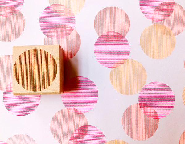 stripe circle rubber stamp | circle pattern stamp | hand carved stamp for diy, card making, fabric printing, art journal, gift wrapping
