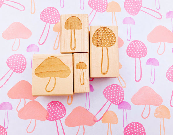 mushroom rubber stamp | fungi stamp | botanical stamp for diy woodland birthday, autumn crafts, card making, fabric printing TALK TO THE SUN