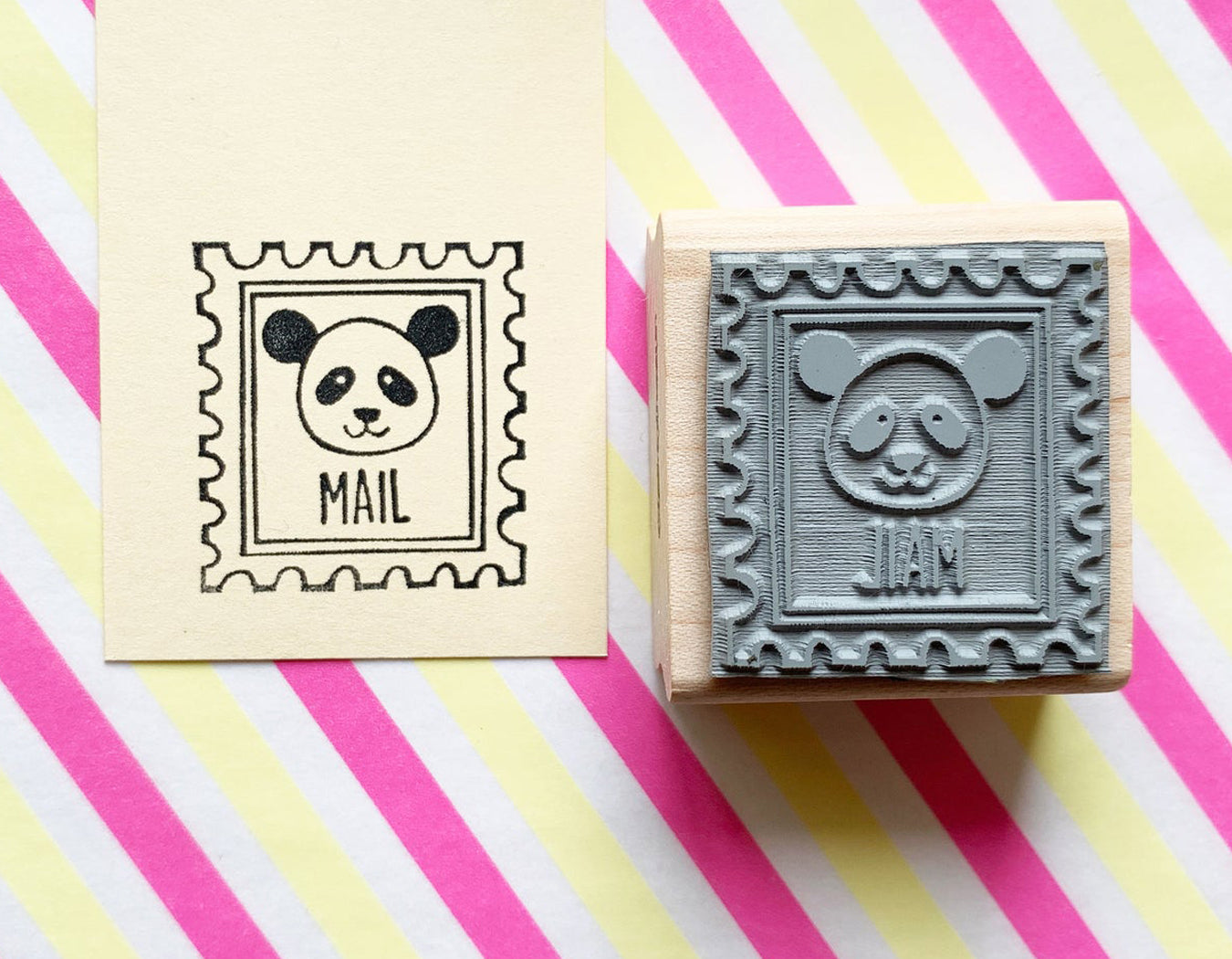 panda rubber stamp | postage stamp | panda mail stamp | woodland animal stamp for snail mail, card making, gift wrapping | LIMITED EDITION- TALK TO THE SUN