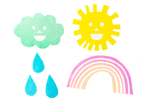 weather rubber stamps | sun cloud rainbow rain drop stamps | smiley face stamps for diy, scrapbooking, block printing- TALK TO THE SUN