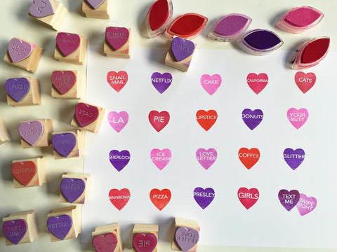 cute heart shaped rubber stamps with words in them.