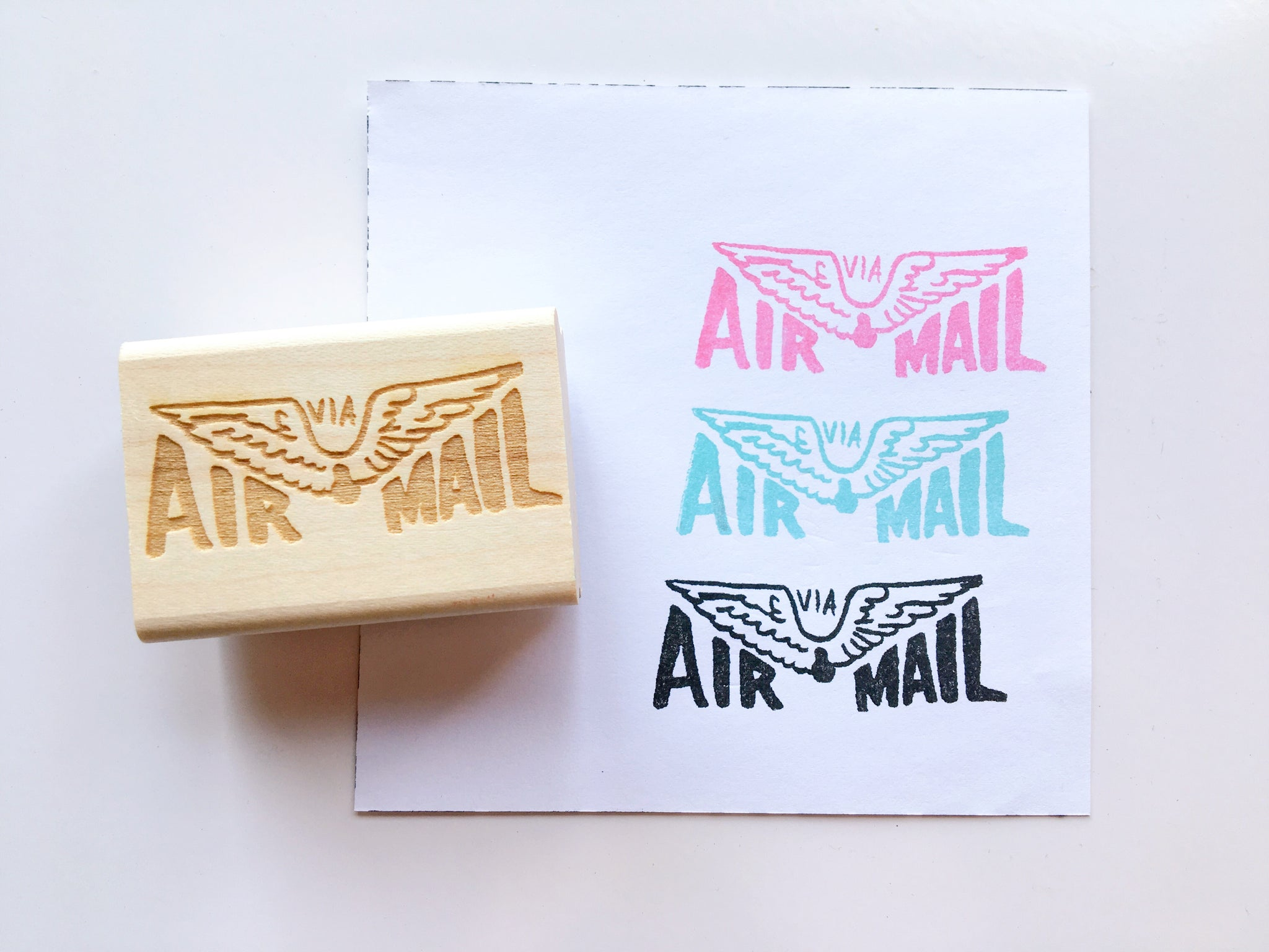 Vintage Inspired Via Air Mail Rubber Stamp