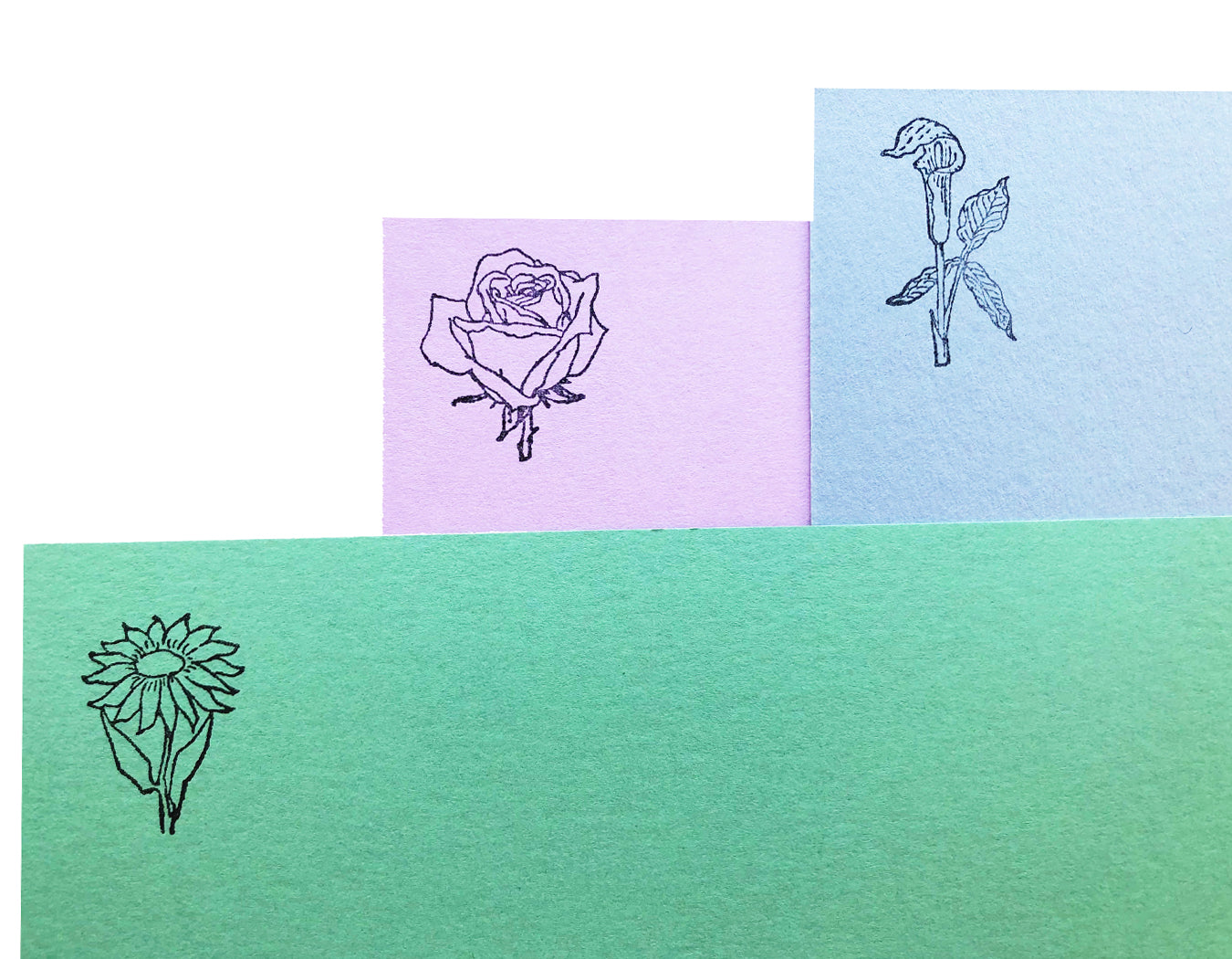 the vintage French floral rubber stamps stamped on flat cards