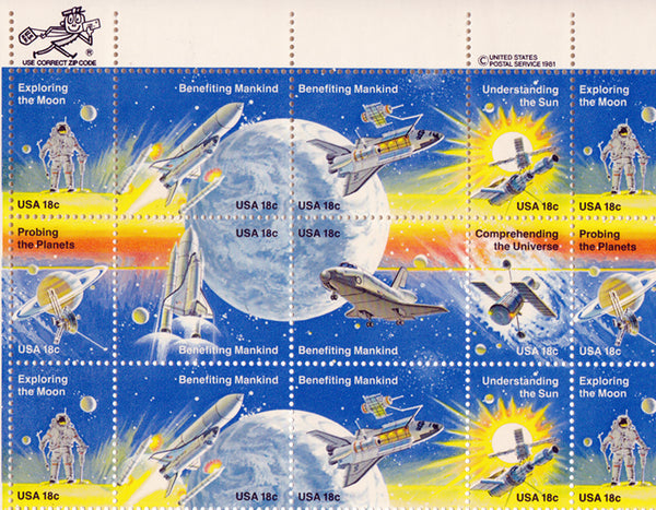 US Space Achievements Vintage Postage Stamp Sheet