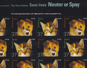 Postage Stamps Neuter and Spay / Save Lives/Cats & Dogs