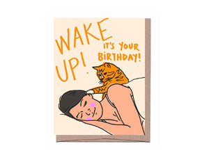 Wake Up Cat Birthday Card