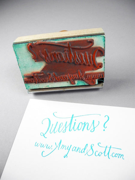 Custom Calligraphy Wedding Website Rubber Stamp