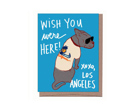 Wish you were here! Vintage T-shirt Dog LA Card