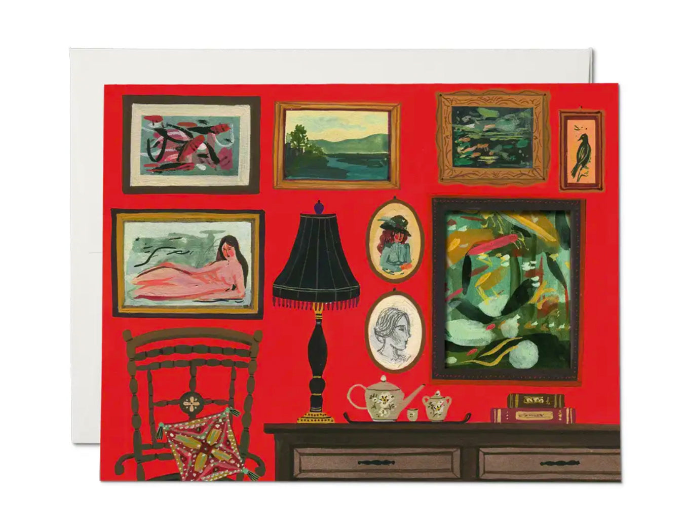 folded greeting card has a gallery wall of paintings on the front