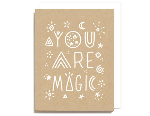 kraft colored card white ink you are magic with a moon andstars