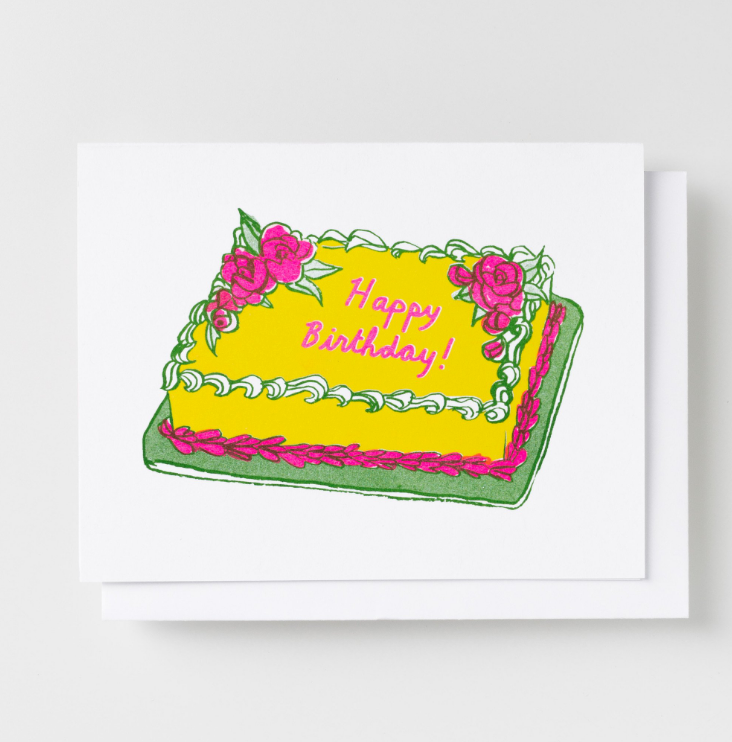 HAPPY BIRTHDAY CAKE - RISOGRAPH CARD