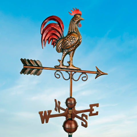 Bantam Red Rooster Copper Antique Bronze Finish Farmhouse Weathervane