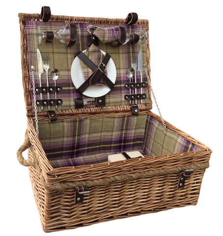 Willow Direct 2 Person Deluxe Tartan Picnic Basket