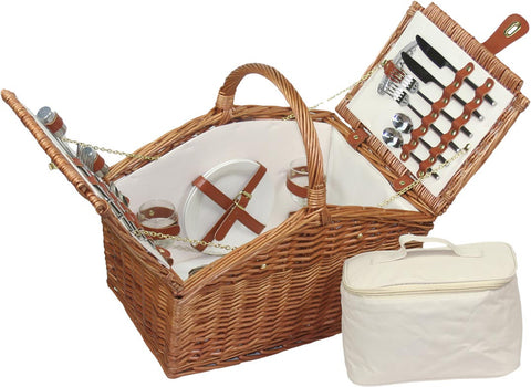 'Willow Direct' 4 Person Dark willow Slope-Sided Picnic Basket