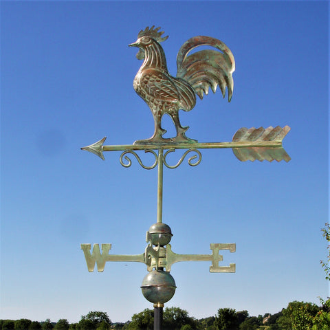 Bantam Rooster Copper Verdigris Farmhouse Weathervane