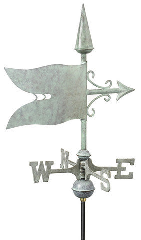 Banner Copper Verdigris Cottage Weathervane