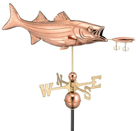 Bass With Lure Copper Farmhouse Weathervane