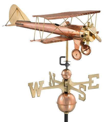 Bi Plane Copper Farmhouse Weathervane