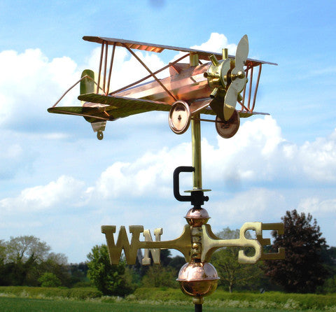 Bi Plane Copper Cottage Weathervane