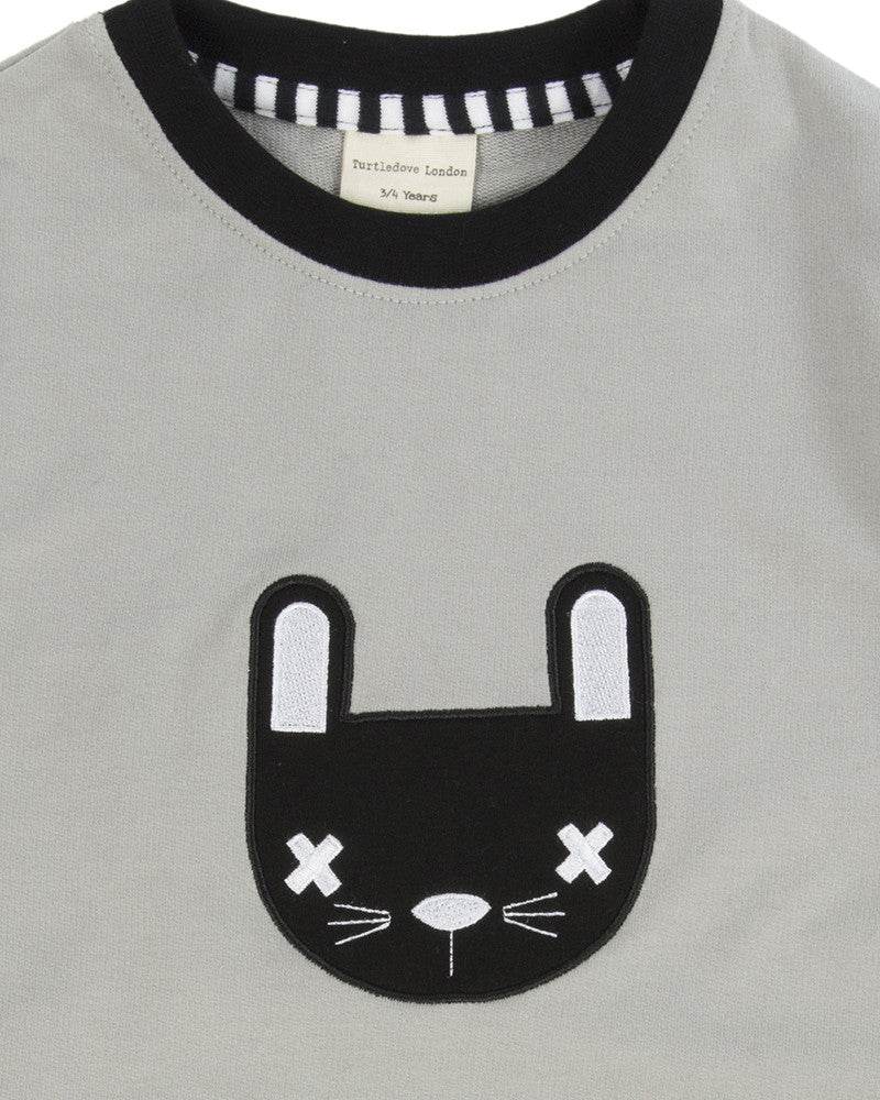 Monochrome Mr Bunny Drop Hem Sweatshirt
