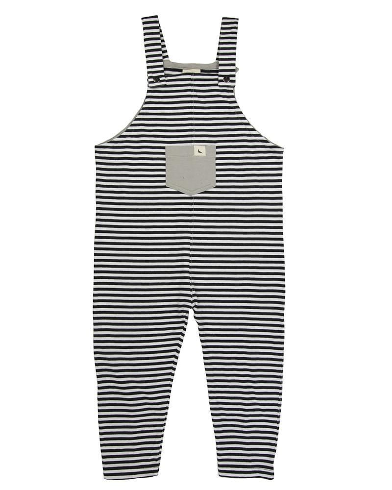 Monochrome Easy Fit Dungaree- Black stripe - Turtledovelondon