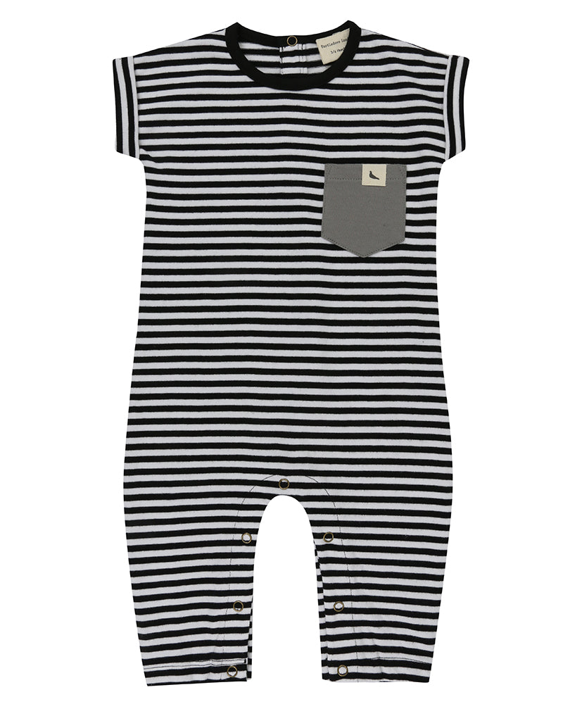 Roll Sleeve Playsuit- Stripe