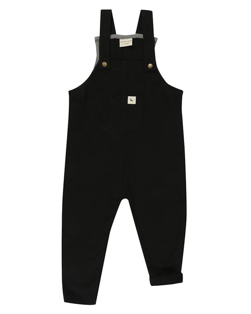 Plain Black Easy Fit Dungaree